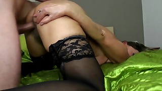 Lusty hairy mature fucked in the bedroom