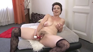 Sexy hairy mature mom shows her big boobs