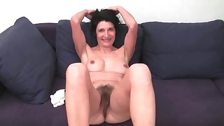 Hairy mature solo video on the sofa