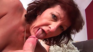 Chubby hairy mature likes oral sex