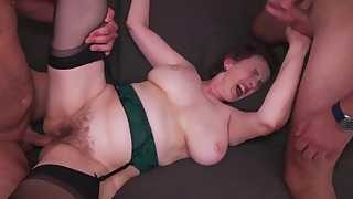Fat hairy woman fucked by young men