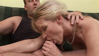 Sweet hairy pussy blonde sucks a dick