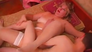 Beautiful Russian blonde jumps on a big dick