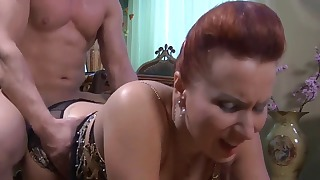 Beautiful mature Russian redhead likes anal