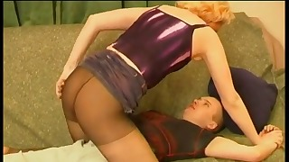 Awesome mature Russian blonde rides on a dick