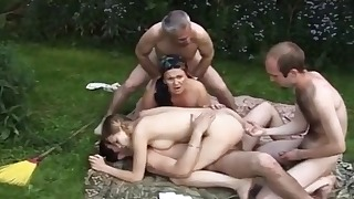 Passionate mature old lady fucked outdoors
