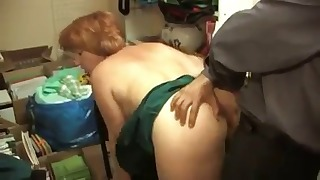 Redhead mature Russian sucks a dick
