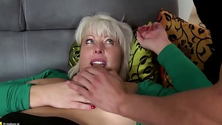 Bitchy blonde mature feels a long dick