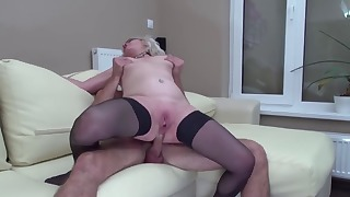 Excellent blonde mature sucks with passion