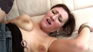 Sensual small-tit mature fucked from behind