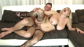 Good busty lady jumps on a massive dick