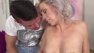 Sensual blonde mom sucks with pleasure