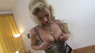 Exciting busty blonde fucked from behind