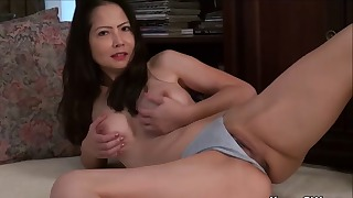 Angelic mature shows off her naked pussy