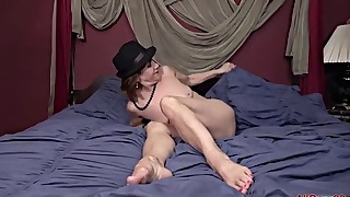 Sensual mature angel is playing with a toy