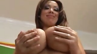 Awesome busty mature Latina sucks a dick
