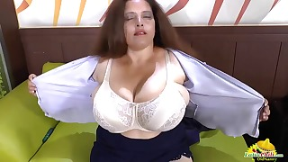 Latina MILF mature solo big boobs on sofa